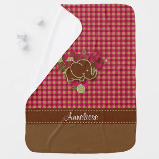 Baby Elephant - Dark Pink, Brown and Green Plaid Receiving Blanket