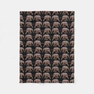 Baby Elephant Frenzy Fleece Blanket (Black)