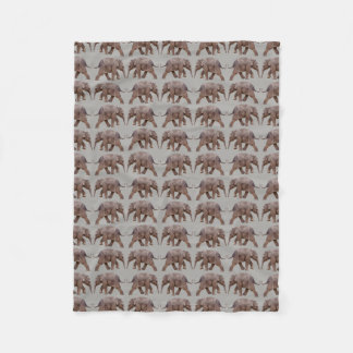 Baby Elephant Frenzy Fleece Blanket (Light Grey)