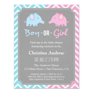 """Baby Elephant Gender Reveal Baby Shower Party 4.25"""" X 5.5"""" Invitation Card"""