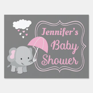 Baby Elephant Girl Baby Shower Lawn Sign