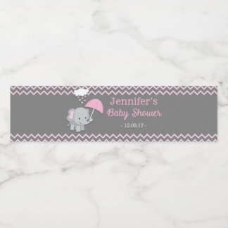 Baby Elephant Girl Baby Shower Water Bottle Labels