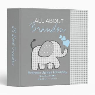 Baby Elephant Gray All About Baby 3 Ring Binders