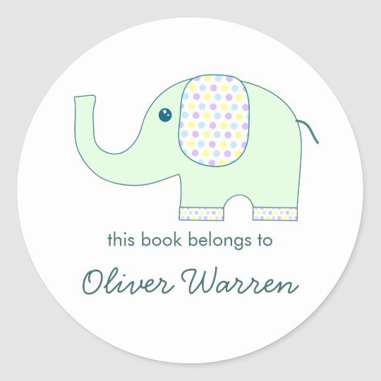 Baby Elephant in Pastels Bookplates Classic Round Sticker
