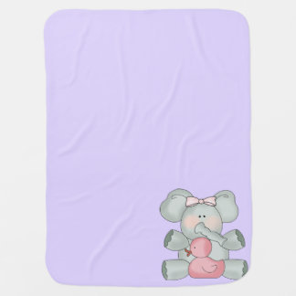 Baby Elephant Lavender Girls Receiving Blanket