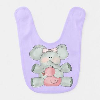 Baby Elephant Lavender Girls Baby Bib