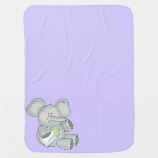 Baby Elephant Lavender Unisex Stroller Blanket