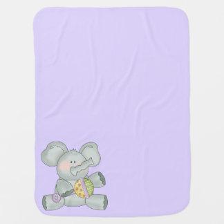 Baby Elephant Lavender Unisex Swaddle Blankets