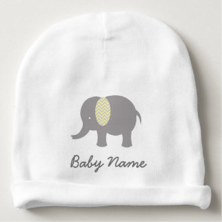 Baby elephant light gray and yellow baby beanie