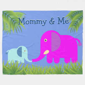 Baby Elephant | Magenta Mom Kissing and Happy Fleece Blanket