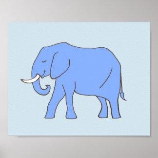 Baby Elephant Nursery Art in Blue Poster