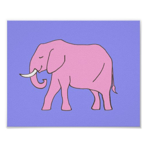 Baby Elephant Nursery Art Pink Purple for Girls Poster