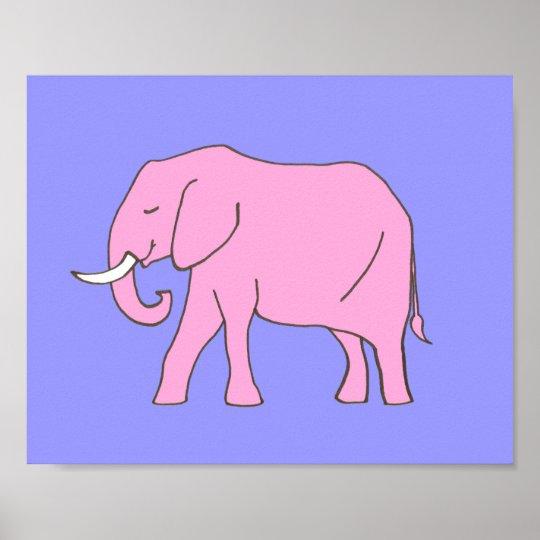 Baby Elephant Nursery Art Pink Purple for Girls Poster