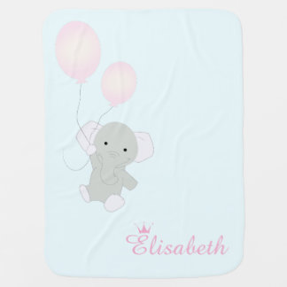 Baby Elephant Personalized Girl's Baby Blanket
