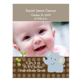 Baby Elephant PHOTO Birth Announcement Custom Postcard