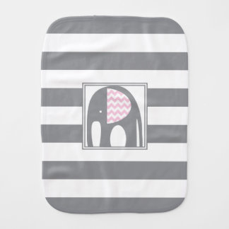 Baby Elephant | Pink & Gray Chevron Stripes Baby Burp Cloths