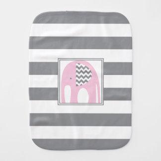 Baby Elephant | Pink & Gray Chevron Stripes Burp Cloth