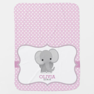Baby Elephant (pink) Personalized Baby Blankets