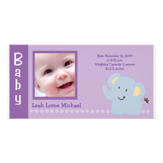 Baby Elephant Purple 4x8 PHOTO Birth announcement Card