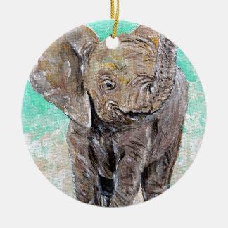 Baby Elephant Round Ceramic Ornament