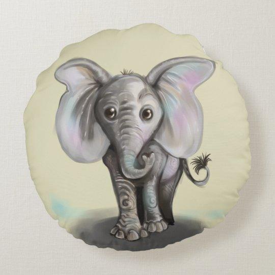 Baby Elephant Round Pillow