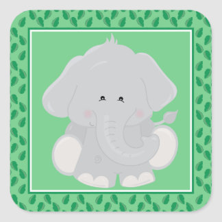 Baby Elephant | Safari Animals Party Square Sticker