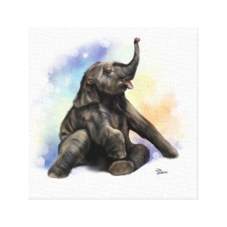 Baby Elephant Sitting Canvas
