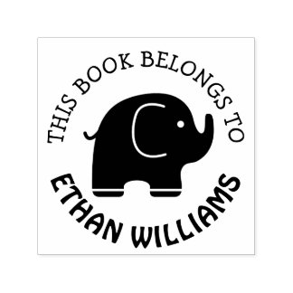 Baby Elephant Stamp This Book Belongs To
