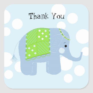 Baby Elephant Thank You Square Sticker