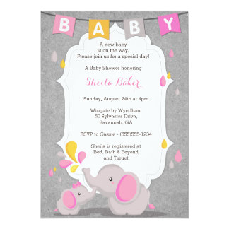 Baby Elephant Themed Baby Shower Invitation PINK