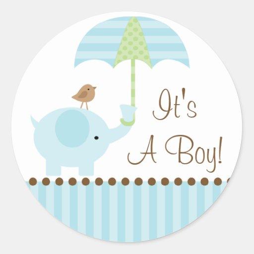 Baby Boy Gifts Elephant : Baby elephant umbrella it s a boy sticker zazzle