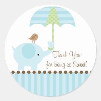 Baby Elephant Umbrella Thank You Sticker