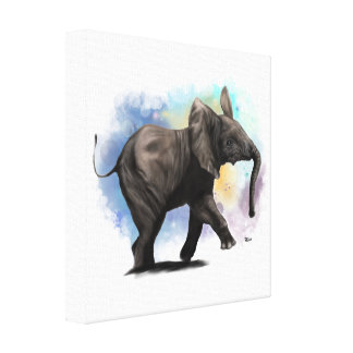 Baby Elephant Walking Canvas