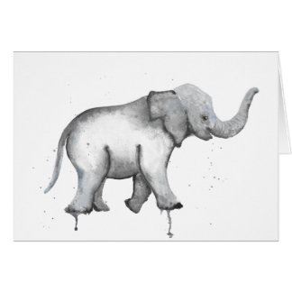Baby Elephant Watercolour Card