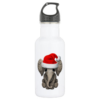 Baby Elephant Wearing a Santa Hat 532 Ml Water Bottle