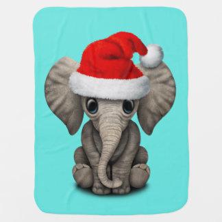Baby Elephant Wearing a Santa Hat Baby Blanket