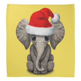 Baby Elephant Wearing a Santa Hat Bandana