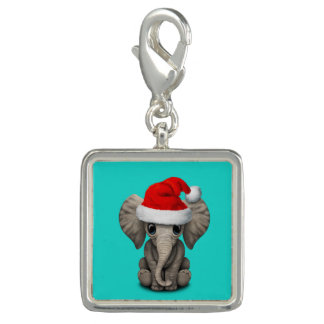 Baby Elephant Wearing a Santa Hat Charms
