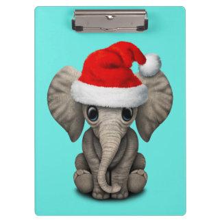 Baby Elephant Wearing a Santa Hat Clipboard