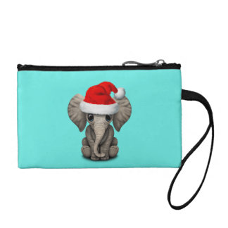 Baby Elephant Wearing a Santa Hat Coin Purse