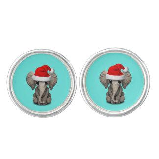 Baby Elephant Wearing a Santa Hat Cuff Links