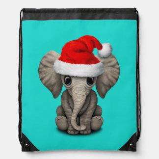 Baby Elephant Wearing a Santa Hat Drawstring Bag