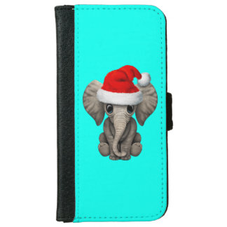 Baby Elephant Wearing a Santa Hat iPhone 6 Wallet Case