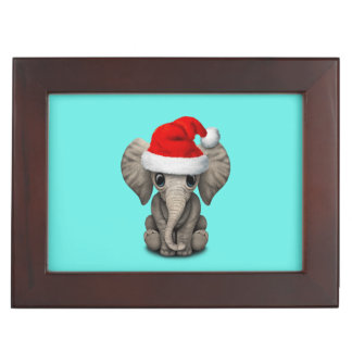 Baby Elephant Wearing a Santa Hat Keepsake Box