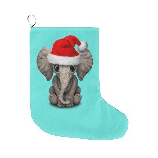 Baby Elephant Wearing a Santa Hat Large Christmas Stocking