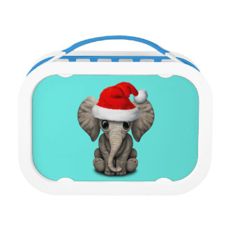 Baby Elephant Wearing a Santa Hat Lunch Box