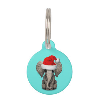Baby Elephant Wearing a Santa Hat Pet Tag