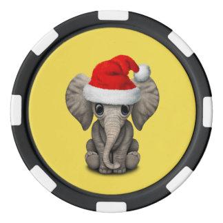 Baby Elephant Wearing a Santa Hat Poker Chips