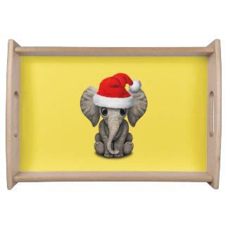 Baby Elephant Wearing a Santa Hat Serving Tray