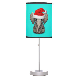 Baby Elephant Wearing a Santa Hat Table Lamp
